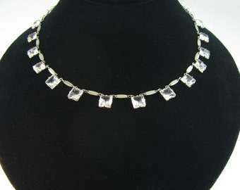 Art Deco Necklace. Bridal Jewelry. Open Back Crystals. Silver Necklace. Made in Germany. 1920's Vintage Wedding Jewelry.