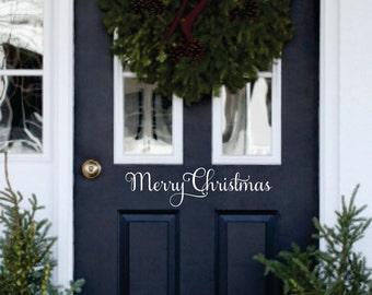Merry Christmas Decal -Christmas Decor Vinyl Decal for your Front Door -Merry Christmas Vinyl Lettering Entry Way or Porch Decal