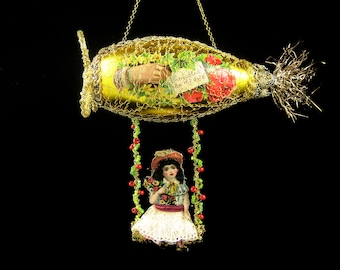 Victorian Christmas Ornament - Untroubled be Thy Days | glass dirigible, hot air balloon