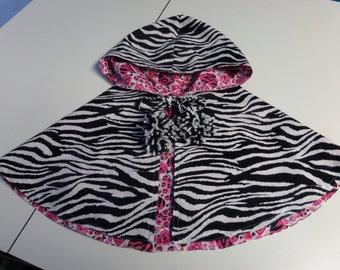 Cape, Poncho, Animal Print  Girls Size 7-8