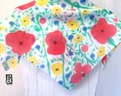 Silk Scarf Square, Gift for her, Birthday Gift, Hand Painted Tricolor Wildflowers Red Poppies Scarf, Silk Scarves Takuyo, 22x22 inches.