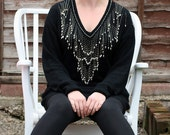 Vintage 1980's Beaded Jumper Black Gold UK 14 US 10 Embellished Gatsby 1930's Style Angora
