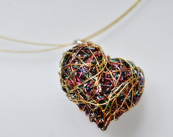 Heart art necklace Wire heart necklace Sculptural jewelry Gold heart necklace Unusual modern necklace heart Valentines gift Heart jewelry