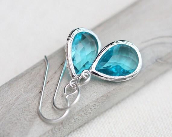 Birthstone Earrings, Bridesmaid Earrings, Bezel Set Sterling Silver Earrings, Bridal Earrings, Bridesmaid Gift, Gift for Women
