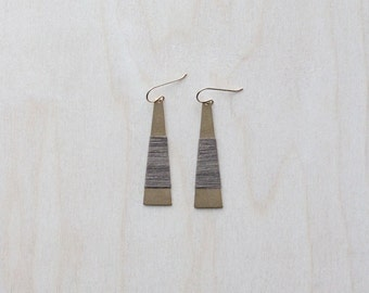 COTTON Wrapped Earrings (in mossy oak) - elongated brass triangles with hand wrapped fibre detail