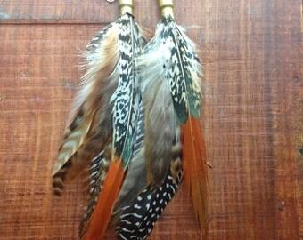 BUllet Shell Feather Earrings, cruelty free long feather earrings, natural feather earrings