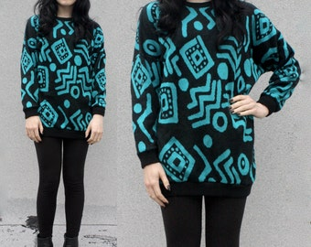 Graphic Print Blue Black Knit Long Sweater Oversized 80's 90's