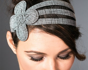 Flower Hair Accessories For Women - Flower Headbands For Women -  Black And White Flower Headband - Large Flower Headband