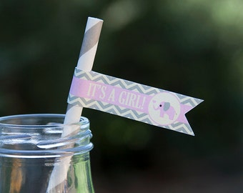 Elephant Baby Shower Straw Flags - Girl Baby Shower Decorations - Pink, Grey & Cream - PERSONALIZED