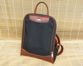 Vintage Blue Canvas And Brown Faux Leather Medium Size Bag Backpack Samsonite