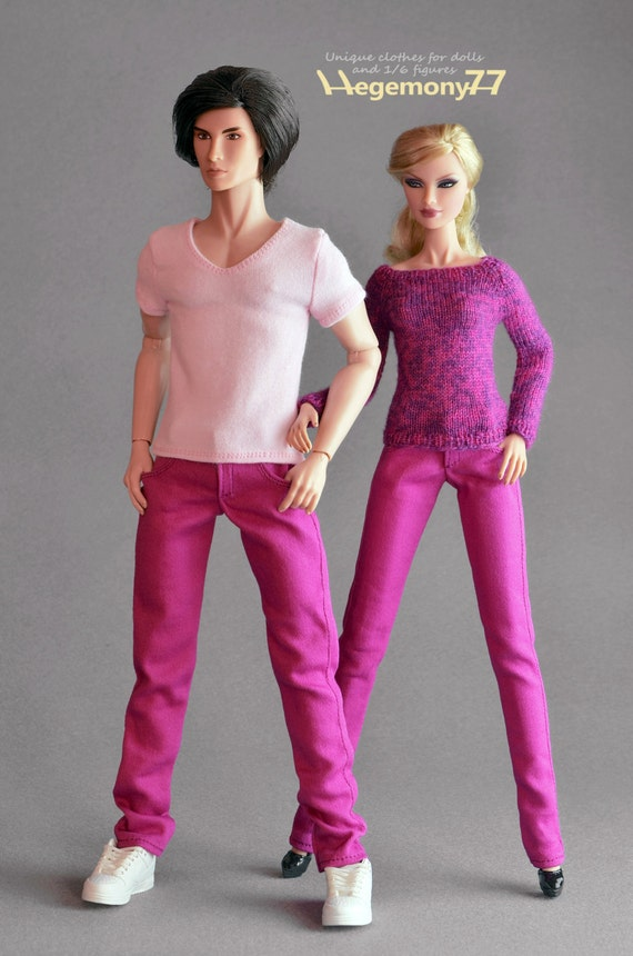 Longer 1/ 6th scale pink jeans pants trousers for: Fashion Royalty male dolls and taller action figures