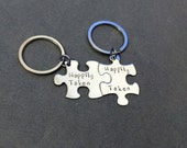Happily Taken Keychains,  Puzzle Piece Keychains, Couples Keychains,  Couples Gifts, Couples Puzzle Pieces, Gift For Him, Gift For Her