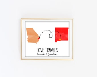 Custom Long distance state print - Love Travels