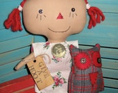 Primitive RED Hair Raggedy Doll with Wool Plaid Elephant SET