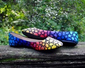 Rainbow Mosaic Ballet Flats Painted Shoes for Women (Simple)
