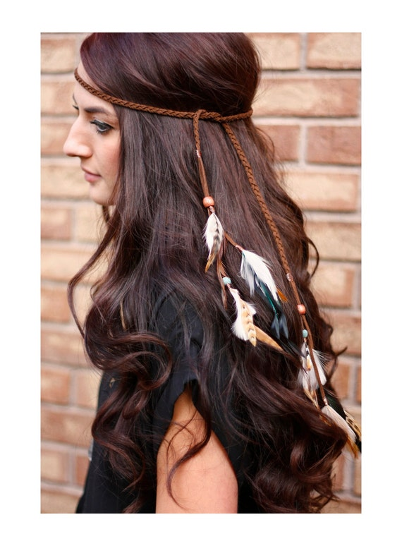 Feather headband: native american indian by kelseysfeathers