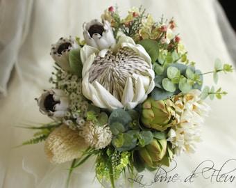 Matilda - Bride's bouquet.  Australian natives.  King protea, banksia, blushing bride, gum, Geraldton wax, smokey joes, green protea