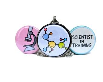 Science Necklace - Set of Three Interchangeable Pendants - Scientist in Training - Molecule - Microscope Pendant