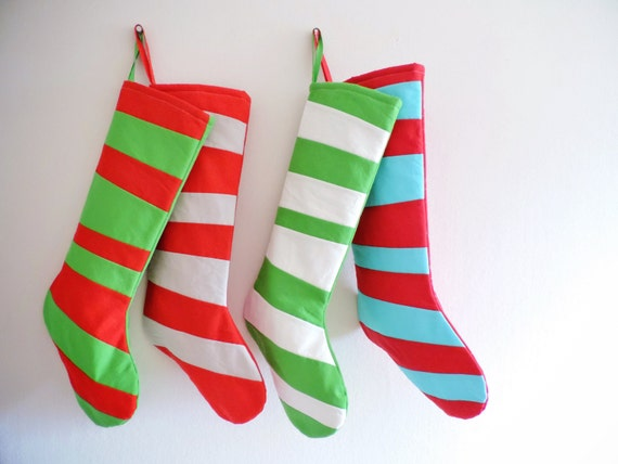 Merry Bright Colorful Personalized Christmas Stocking Personalized Stocking Kids Family Modern Striped Boy Girl Holiday Decoration, Dr Seuss