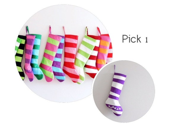 Kids Stocking, Personalized Christmas Stocking Personalized Stocking, Family Stockings, Modern Striped Boy Girl Holiday Decoration, Dr Seuss