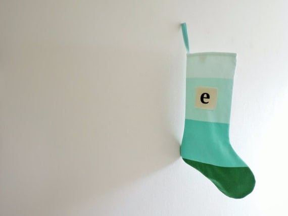 Personalized Christmas Stocking Personalized, Modern Striped Colorblock Personalized Stocking Monogram Color Block Girl Boy Wonderland Teal