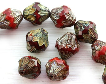 Red rustic beads, czech glass picasso beads, large baroque bicones, table cut, 13mm - 4Pc - 0924