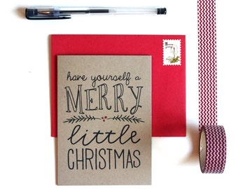 Christmas Card Pack - 'Have Yourself a Merry Little Christmas' (Set of 5), Christmas Cards, Kraft Card, Christmas Card Set