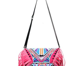 Pink Tassel Fringe Bag Embroidered Fabric Cross Body with Removable Leather Strap (BG4395-21C8)