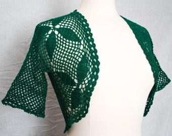Green crochet shrug bolero