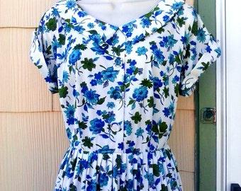 Vintage 1940s 1950s Blue Flower Day Swing Dress M Rockabilly VLV