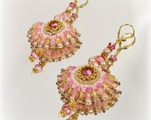 Pink,Champagne & Gold Bead Woven Asian Fan Earrings - Featuring Pink Resin Mother of Pearl Coin Beads, Wedding Jewelry,  Fall 2014