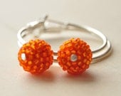 Silver Hoop Earrings, Hoop Earrings, Hoop Earrings with Orange Beads,Silver Earrings