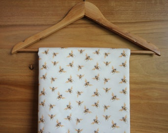 Honey Bee Fabric in Golden Bees on White Printed Yardage Cotton, Linen, Organic Cotton Knit | Ships from USA, Free Ship Worldwide