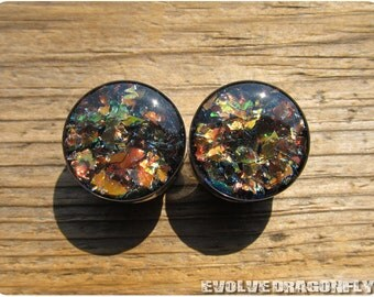 12mm, 1/2 Inch - READY TO SHIP - Ember City Shard Plugs, Double Flare