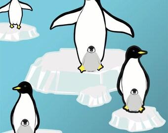 Cute Penguin& Iceberg Playful Scene Wall Decals
