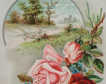 Antique Victorian Greeting Card Embossed Floral with Scenic Castle