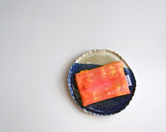 Orange Coin Purse, Fall Zipper Pouch, Hand Dyed Change Purse, Gifts For her, Hand Dyed Wallet