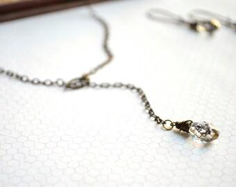 Brass Wrapped Swarovski Crystal Necklace in Gold Patina