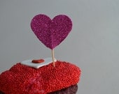Valentine's Day. Magenta. Heart Shape Cupcake Topper. 20 pieces.