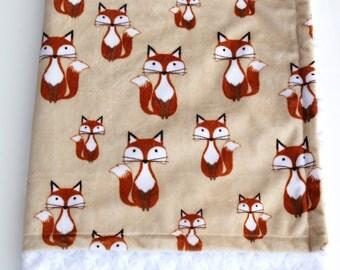 Fox Baby Blanket, Minky Fox Blanket, Woodland Baby Blanket, Double Sided Minky Blanket