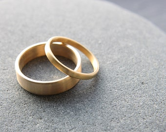 2mm + 5mm wedding ring set in recycled 18ct yellow gold, flat profile, brushed finish - made to order