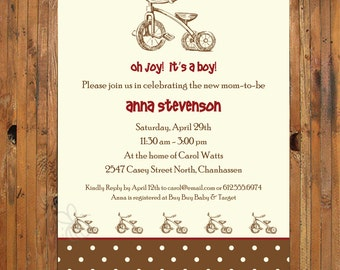 Baby Shower invitation - Vintage toy shower invitation - Vintage tricycle baby shower invitation - Item 0060