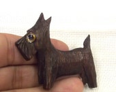 Vintage Scotty Dog Pin, Brooch, Wood Jewelry, Glass Eye, 1940s, Figural,  Dog Lover