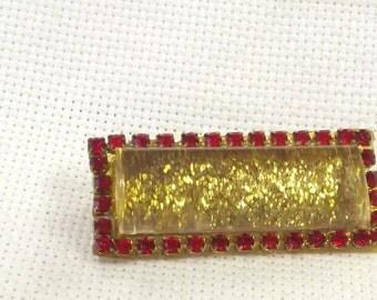 Vintage Lucite Pin, Rhinestone Jewelry, Glitter Brooch, Unique, Costume Accessory