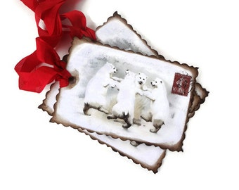 Woodland Christmas Tags, Polar Bears, Vintage Holiday Gift Tags, French Postcard, Winter Wonderland, Red and White, Favor Tags, Set of 10