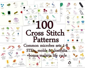 """Cross Stitch Patterns -- 100 Microbes, in 10 sets of 10, each to fit in 3"""" embroidery hoops or frames, or for a gigantic sampler"""