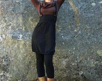 Suspender dress--womens jumper-ladies dress-jumper dress-black jumper dress-high waist-black dress-cotton black dress-yoga dress-midi dress
