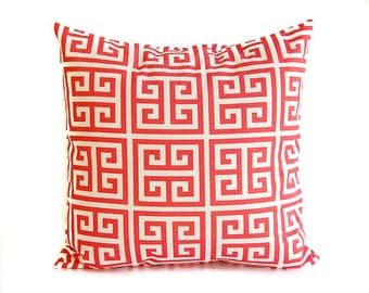 Coral throw pillow cover One coral and white greek key pillow cushion cover
