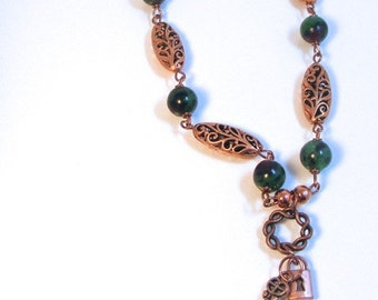 PRIVATE GARDEN - COPPER Necklace - ruby zoisite - lock and key pendant - copper filigree - green and dark red