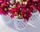 12 Mason Jar Covers Collection . Nautical Lanterns Crochet Knit Decor . Rustic Beach Wedding Centerpieces